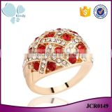 Factory wholesale less than 1 dollar jewelry zinc alloy full jewelled rose gold ring