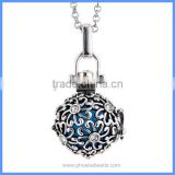 Wholesale Antique Silver Flower Musical Sound Bell Harmony Pregnancy Hollow Chime Box Cage Necklace BAC-M029