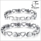 Hollow Heart Titanium Germanium Couples Bracelet Adjustable Length, medical alert bracelet