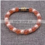 Hot Sale Nylon Mesh Pipe PU Bracelet With Stones And Pearl Beads