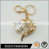 Fashion resin fox tail keychain,beautiful crystal fox keychain /