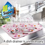 Microfiber sink strainer dish drying mat available in various colors