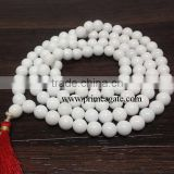 White Agate Tassel Mala Necklace, 108 Bead Mala, Nature Stone Jewelry - Jap Mala- Yoga Necklace