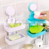 Double Layer Plastic Soap Holder Non-slip Dish Draining Tool / leaking soap dishes sucker soap holder