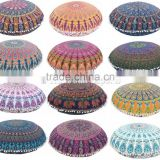 Mandala Throw Pillow Cover Indian Floor Pouf Ottoman Meditation Cushion Cover Large Round Pillow Case