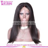 Top quality Brazilian Virgin 18 Inches Human Hair Wig Lace Front Large Stock Natural Black Middle Part Wigs