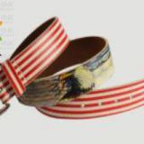 Striped Navy Genuine PU Women Belt