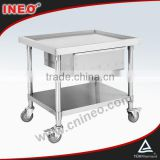 Commercial Kitchen Mobile Stainless Steel Bench with Drawers & Undershelf(INEO are professional on commercial kitchen project)