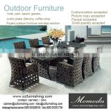 9026 Sandra Rattan Lounge Furniture China Anti-skidding Outdoor Hotel Dining Table and Chair Set
