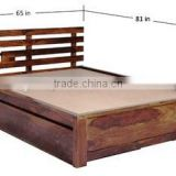 Latest Natural Wooden Queen Size Bed With Storage