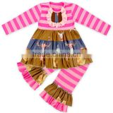 Hot Pink Striped Style Boutique Girl Clothing Sets Long Sleeve Cotton Shirt Dress And Ruffle Pants Girl Clothes Set Kid Clothing