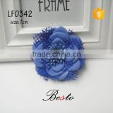 7CM Italy style royal blue elegant mesh lace leather flowers for bags /shoes decoration