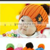 Fashion Eco-friendly Organic Milk Cotton Handmade Knit Baby Newsboy Hats, handmade crochet baby Hat w Star Pattern