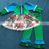 YW-112 baby boutique clothing set colour stitching elephant dress suit green and blue baby clothes 2015