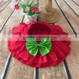 Layered Cotton Red Infant Girls Ruffled Bow Skirt