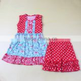 newest summer outfits 2017 red color dot print dress match shorts baby girl outfits 2 piece outfit summer