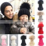 Mommy Kids Baby Toddler Boys & Girls Winter Knit Warm Soft Beanie Hat Hairball Caps