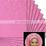 Baby Pink African Nigerian Regular Aso Oke Gele Headtie with Beaded for Women On Sale