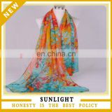 Hot selling fashion printing multicolor lady beach chiffon scarf