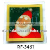 Professional Christmas Designed Glass Fruit Plate with Sqaure Shape for Glass Plate Wholesale