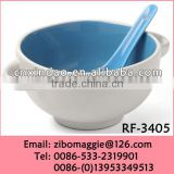 New Style Glazed Promotional Ceramic Personalized Salad Bowl with Spoon