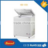 155L Top open door chest freezer,deep freezer with lock&key,interior lamp,inner glass door