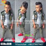 2015 Autumn New Style Kids Clothing Set handsome boys clothing set with vest coat+shirt+jean pants
