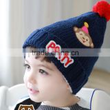 Newest Cute Letter PARTY Monkey Balloon Embroideried Pom Pom Baby Boys Winter Hat
