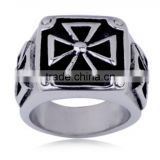 stainless steel cross rings customized biker jewelry for mens