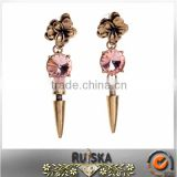 Rivet Pendant Vintage Alloy Flower Earrings With Pink Crystal