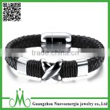 Mens Braided Cross Stainless Steel Clasp Black Leather Bracelet Genuine Leather Wristband Bangle wholesale