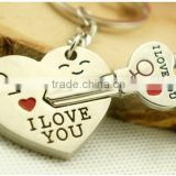 2015 Alloy Lock-and-Key Ring Chain Set Stylish Silver Couple Sweetheart Key Chain For Lovers 68*50
