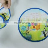 Popular Printing Beach Fetch Toys, Round Nylon Folding Fan Frisbee