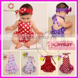 Wholesale fashion bubble satin polka dots baby rompers