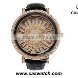 Newest fashion Czech stone brand watches big alloy dial pasted Czech stone watches for lady