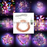 10M 33ft 100 led 5V USB powered outdoor Warm white/RGB led copper wire string lights christmas festival wedding party decoration