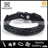 wholesale fashion jewelry dozen adjustable genuine leather black belt bracelet