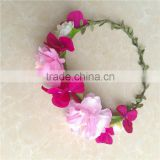 bohemian headband with pink artificial flower hair Bands for girls