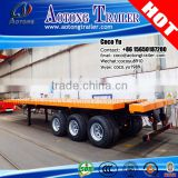 Aotong shipping terminal truck ISO containers 3 axles 40 ft extendable flatbed semi trailer