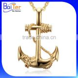 14K Gold Plated Large Stainless Steel Mens Anchor Pendant For Men Anchor Pendant With Chain