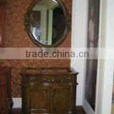 Drama white Antique single sink wooden mirror and vanity top with Baltic Brown/Classic solid wood bathroom cabinet