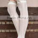 2015 Autumn and winter lace button cotton socks knee-high boots socks                                                                         Quality Choice