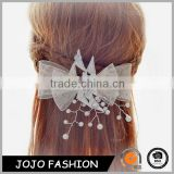 Factory Price High Quality White Lace Bowknot Pearl Bead Weeding Hair Pin Bridal Hair Accessories