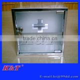 2016 2 layers newly stainless steel first aid box with glass door