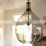 11.29-2 OVERSIZED GLASS PENDANT teardrop shape and mottled texture evoke an oversized wine jug