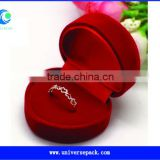 Heart Shape Ring Packing Box Flocking Red Boxes Design For Wholesale                                                                         Quality Choice