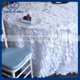 CL018R Wholesale Hot sale fancy elegant polyester round white wedding petal taffeta table cloth