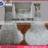 personlised 2014 hot sell heavy manual rose on organza white bridal dress