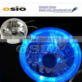 5'S BMC CRYSTAL GLASS BLUE HALO RING 12V/24VAuto Halogen Semi Sealed Beam Install H4 or HID H4 Xenon Bulb