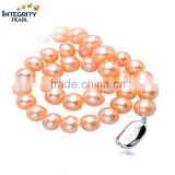 8-9mm button round natural hot sale pink jewelry Chinese pearl necklace